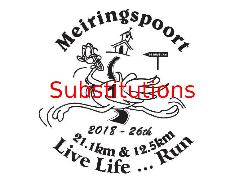 MEIRINGSPOORT 21.1km & 12.5km - SUBSTITUTIONS