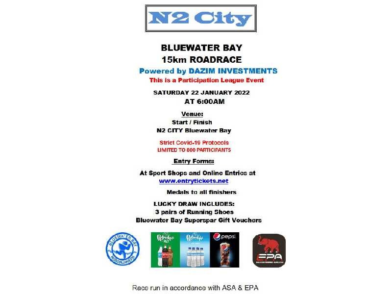 N2 City Bluewater Bay 15 Km Road Race – 2020